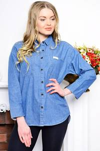 Рубашка синяя с длинным рукавом Р7616