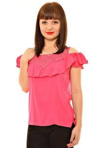 Блуза розовая с кружевом Л5972