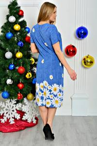 Платье короткое синее с коротким рукавом П7922