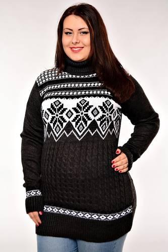 Туника теплая зимняя черная Е3343