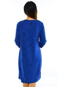 Платье длинное деловое синее М6076