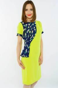 Платье короткое офисное желтое Н1523