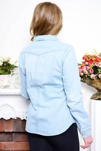 Рубашка синяя с длинным рукавом Р7617