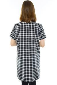 Рубашка удлиненная черная в клетку Н1176