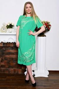 Платье длинное деловое зеленое Р7344