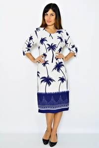 Платье длинное с принтом белое М0290