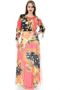 Платье длинное повседневное с принтом П6692