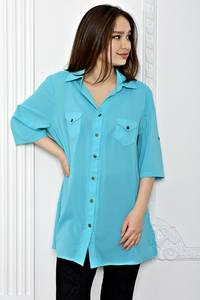 Рубашка однотонная с коротким рукавом Т0695
