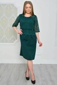 Платье длинное с кружевом зеленое Р0627