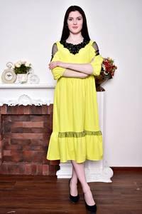 Платье длинное вечернее желтое Р8832