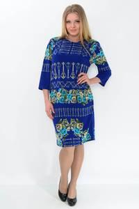 Платье длинное зимнее синее М2409