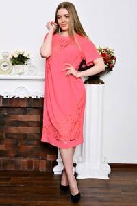 Платье длинное с кружевом красное Р7348