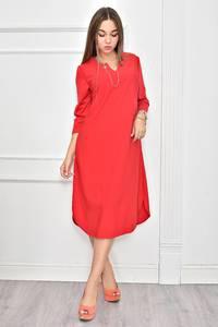 Платье короткое красное однотонное Ф0256
