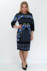Платье длинное с принтом зимнее М2410