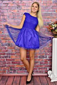 Платье короткое вечернее синее Т5940