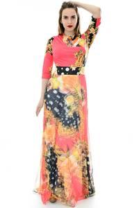 Платье длинное повседневное с принтом П6696