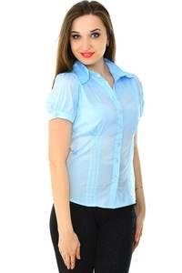 Рубашка синяя прозрачная с коротким рукавом Н7152