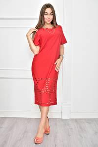 Платье короткое красное однотонное Ф0260