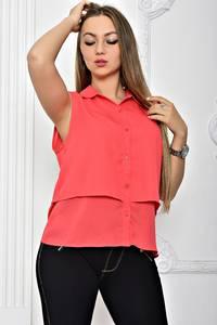 Рубашка красная однотонная с коротким рукавом Т2472