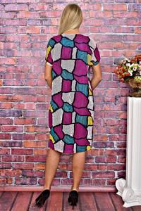 Платье короткое с принтом с коротким рукавом Т5943