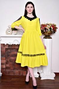 Платье длинное с кружевом желтое Р8840