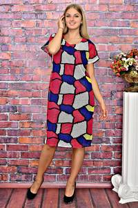Платье короткое с принтом с коротким рукавом Т5944
