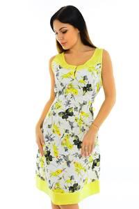 Платье короткое с коротким рукавом желтое М6090