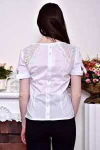 Блуза белая с бантом с коротким рукавом Р8843