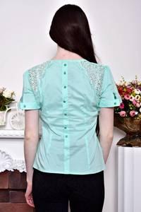 Блуза с кружевом с бантом с коротким рукавом Р8845
