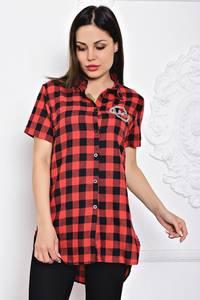 Рубашка красная в клетку с коротким рукавом С9701