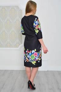 Платье длинное с принтом черное Р0641