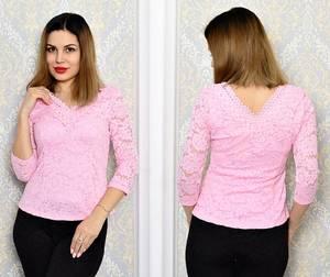 Блуза розовая с кружевом с длинным рукавом Р6334