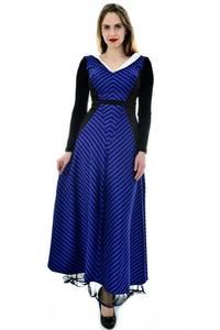 Платье длинное синее с длинными рукавами П6701