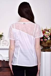 Блуза белая с кружевом с коротким рукавом Р8847