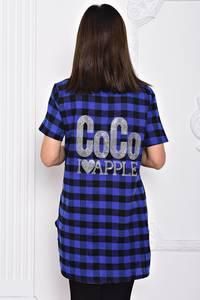 Рубашка синяя в клетку с коротким рукавом С9702