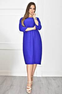 Платье короткое однотонное синее Т6629