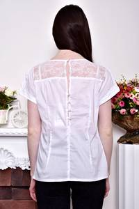 Блуза белая с кружевом с коротким рукавом Р8848