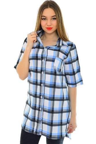 Рубашка в клетку с коротким рукавом Н1946