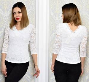 Блуза белая с кружевом с длинным рукавом Р6336