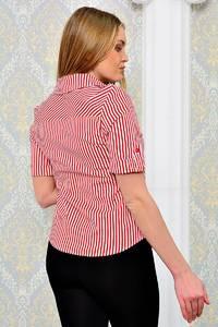Рубашка красная в полоску с коротким рукавом П9014