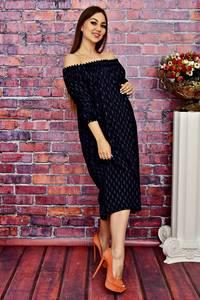 Платье длинное повседневное с открытыми плечами Т4237