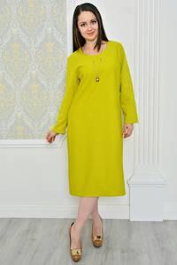 Платье длинное зимнее желтое Р0485