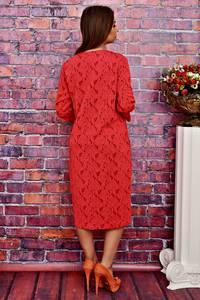 Платье длинное офисное красное Т4238