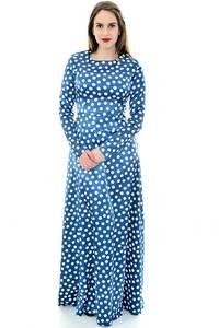 Платье длинное синее в горошек П6705