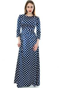 Платье длинное синее в горошек П6706