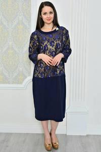 Платье длинное с принтом синее Р0486