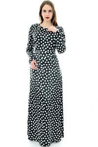 Платье длинное черное в горошек П6707