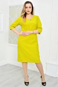 Платье длинное повседневное желтое П9754