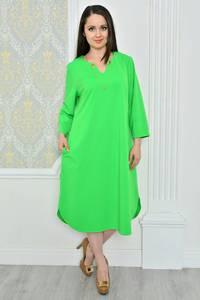 Платье длинное зимнее зеленое Р0487