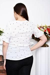 Блуза белая в горошек с коротким рукавом Р6952